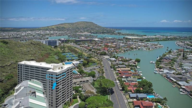 aerial view of the plaza hawaii kai
