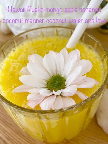 yellow smoothie with mango apple banana coconut