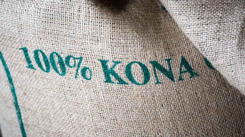bag of 100% kona coffee