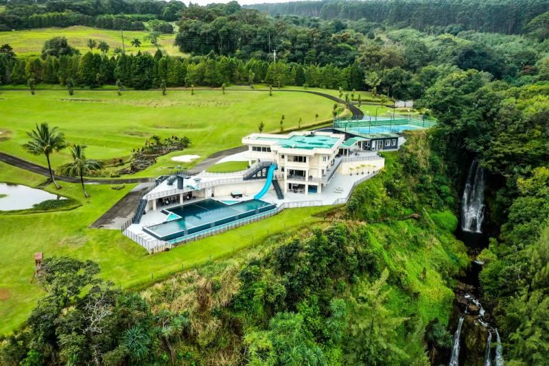 waterfalling estate on the big island host of CBS show Love Island