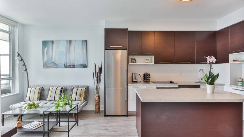 clean modern kitchen and dining area