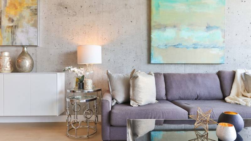 contemporary living room with gray couch