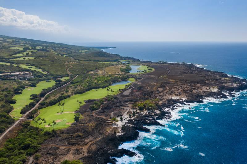 aerial view of thousand acres of hokulia on the big island