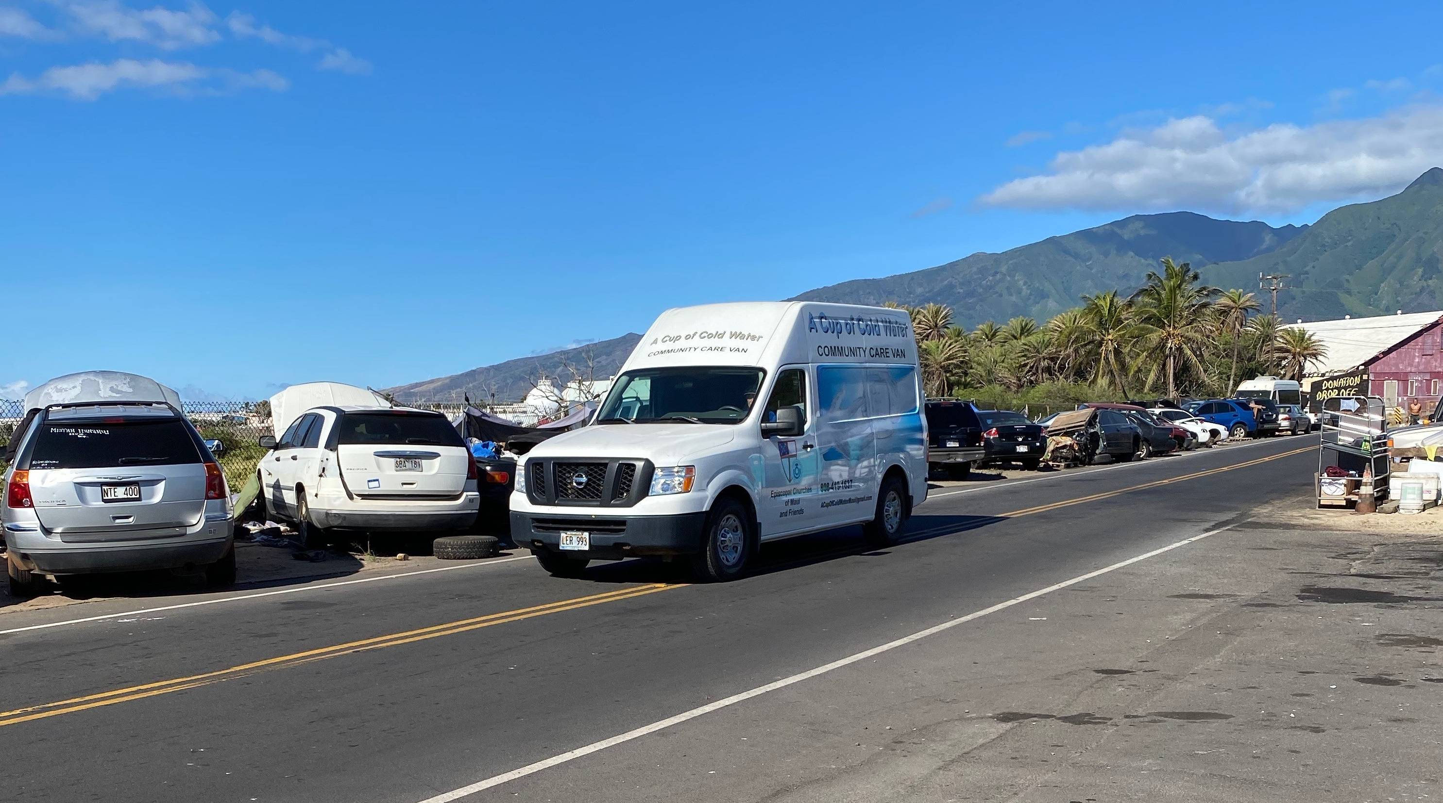 A Cup of Cold Water care van on the road. A Cup of Cold Water is an an outreach program for the unsheltered on Maui.