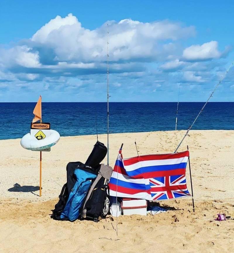Hawaiian Flag in Distress on the Beach