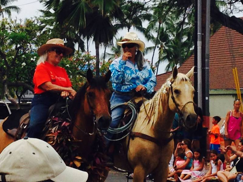 Barbara Nobriga and Fern White in Kamehameha Day Parade Kona