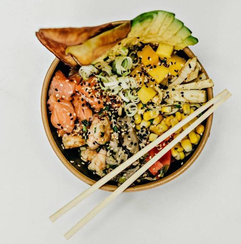 poke bowl with fish and avocado