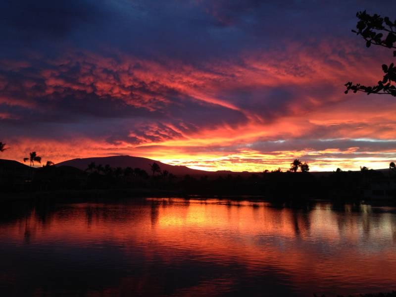 vivid orange and blue sunset in hawaii