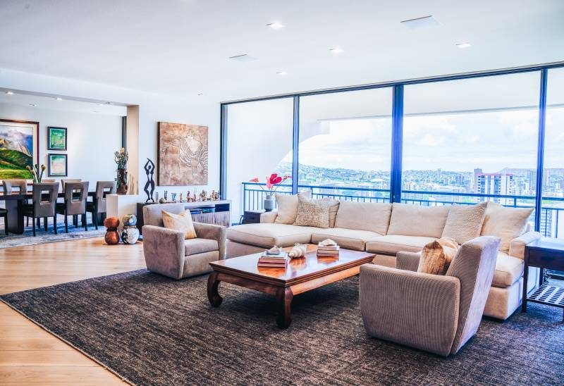 spacious living room with expansive views