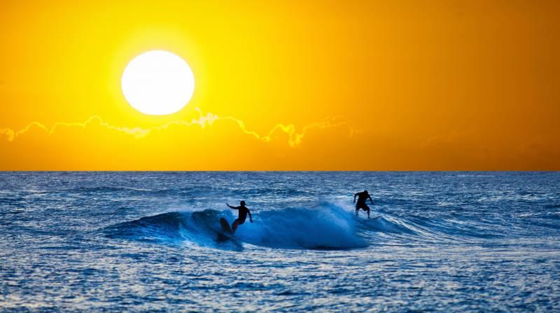 surfing on the big island
