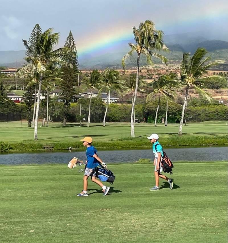 rainbow over golf course on maui