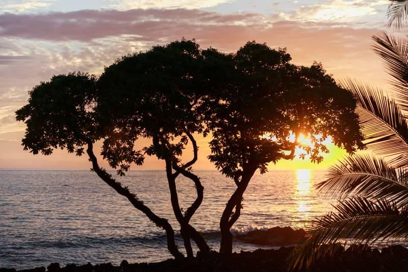 sunset over ocean on big island hawaii