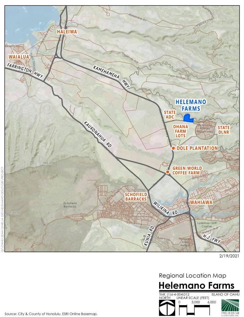 Helemano Farms map oahu