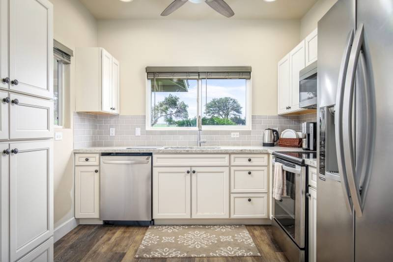 kitchen with window to big island hawaii views