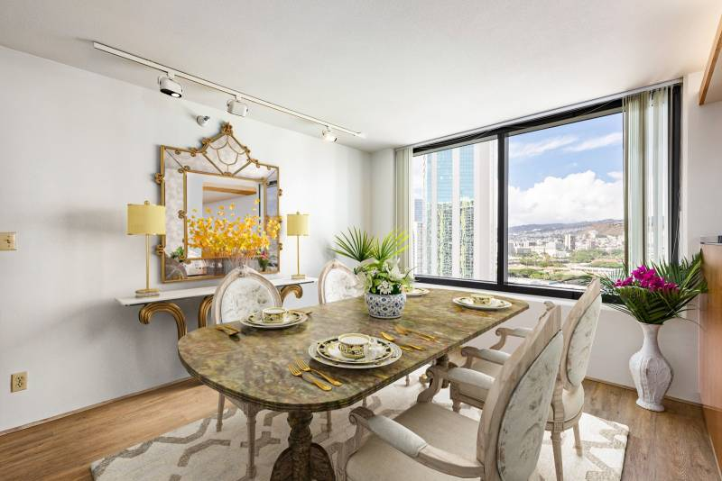 dining room with views of honolulu