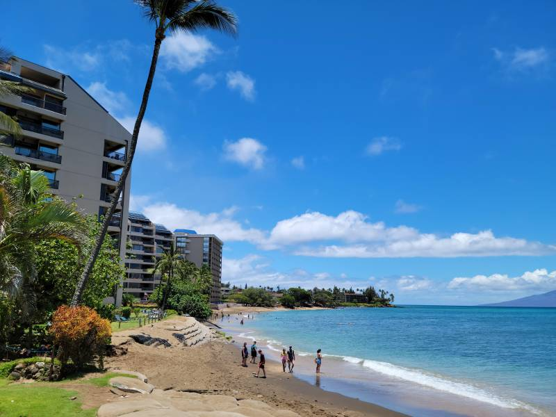 The beach in front of Valley Isle Resort looking south at Sands of Kahana.