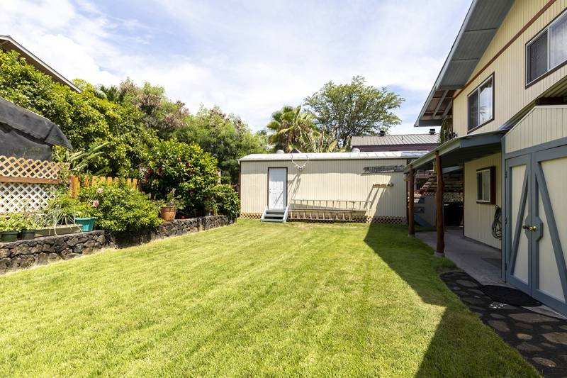 garden and grassy yard