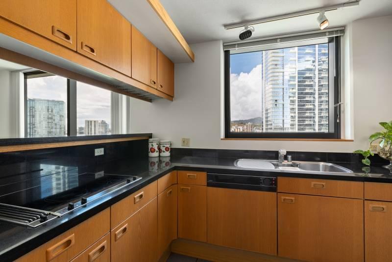 kitchen with honolulu city views