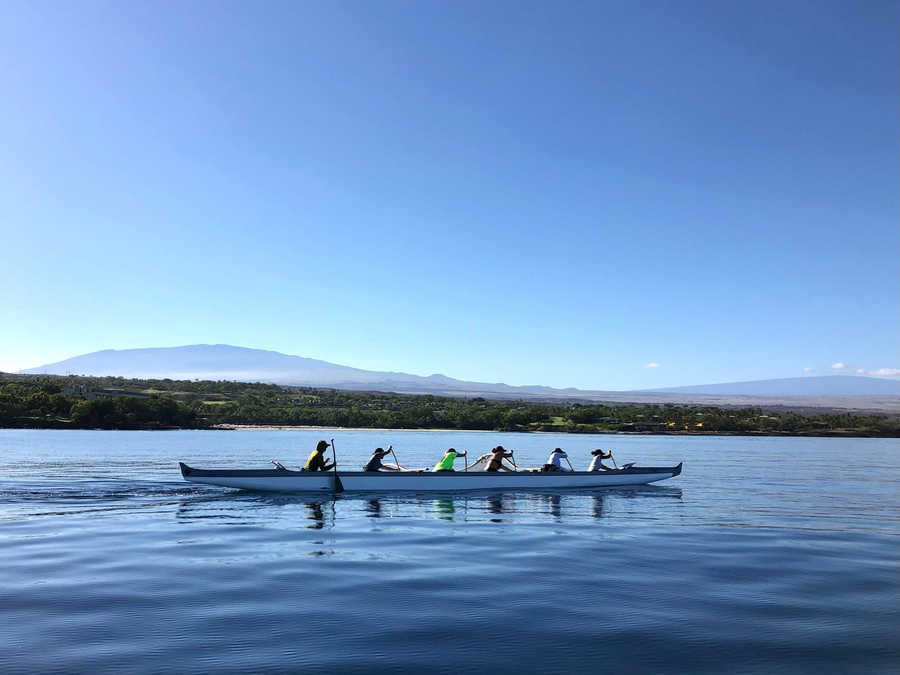 Noelani Spencer Photo_Big Island3_Women in outrigger canooe paddling off the coast of Hawaii Island