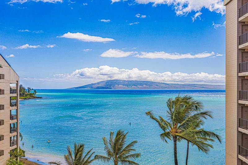 Ocean view from Valley Isle 902 of turquoise water and Lanai.