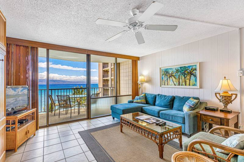 View from the couch in the living room of this Maui Oceanfront Condo.
