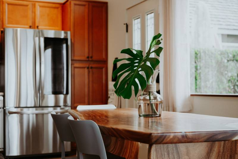 natural wood kitchen table