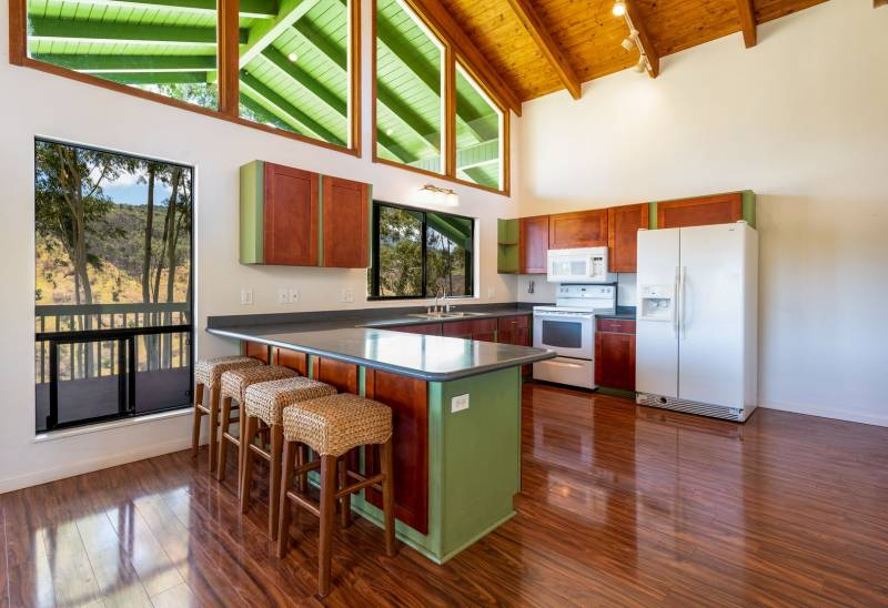 kitchen with high ceilings on oahu's north shore