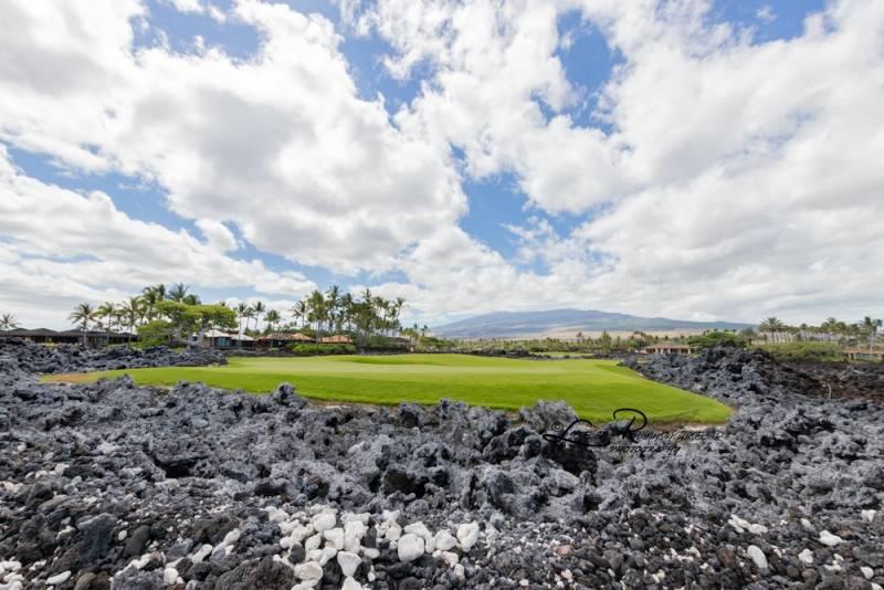 black lava rocks around golf course big island