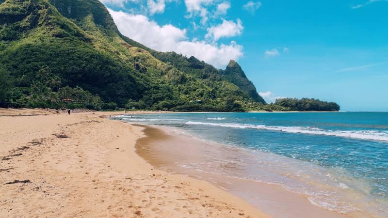 sandy beach on kauai