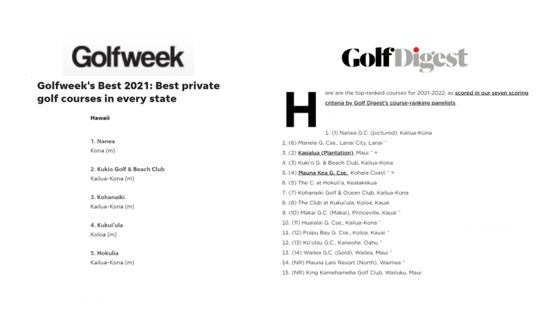 excerpts from golf week and golf digest